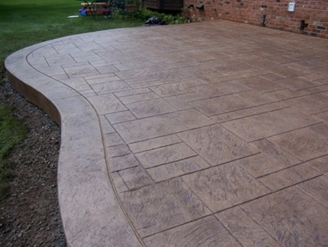 Ashlar Slate Stamped Patio With Granite Border